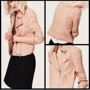 Lou & Grey 100% Linen Blush Moto Jacket